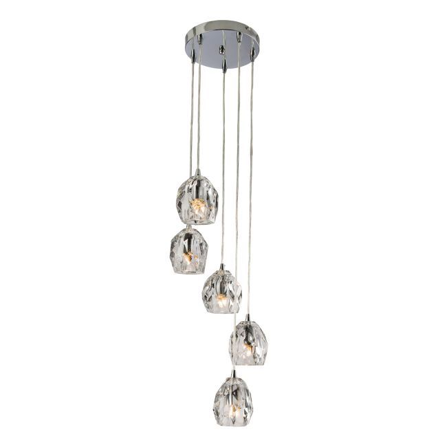 Lampa wisząca Poitier 5 - Endon Lighting - chrom, szklana