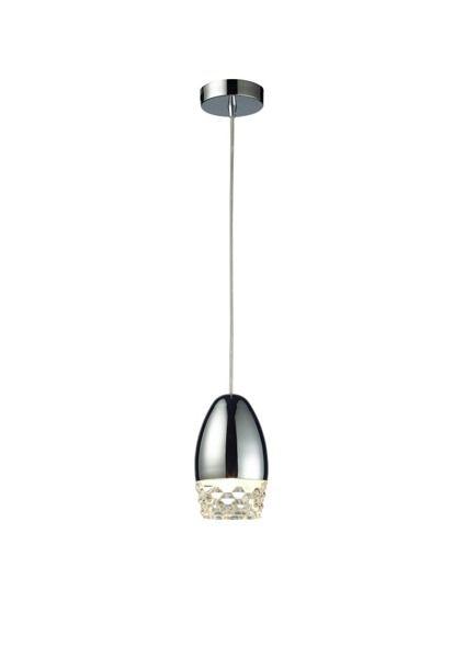 chromowana lampa wisząca ze szklanymi dekoracjami