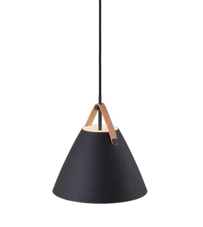 czarna, matowa lampa wisząca, styl nowoczesny, stożkowy klosz
