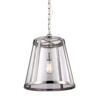 Lampa wisząca w stylu Hampton - Sutton - szklana srebrna