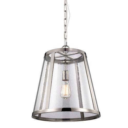 lampa wisząca ze szklanym kloszem i srebrną oprawą - kuchnia modern classic aranżacja