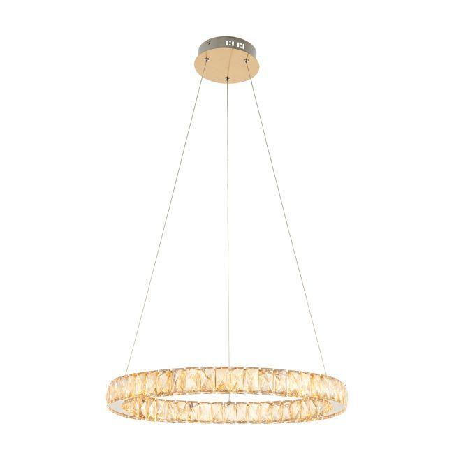 designerska lampa wisząca, pierścień z kryształów, odcień szampański, beżowy