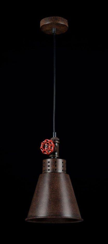 mała brązowa lampa wisząca z czerwonym zdobieniem