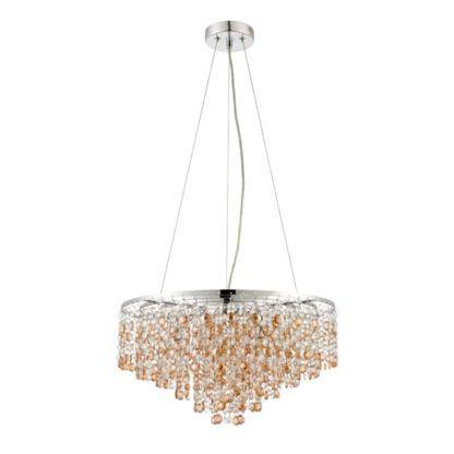 lampa wisząca z białych i złotych kryształków w stylu glamour