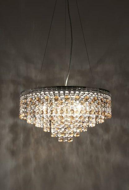 kryształowa lampa wisząca w stylu glamour