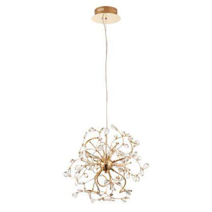 złota lampa wisząca z kryształami, metalowe gałązki