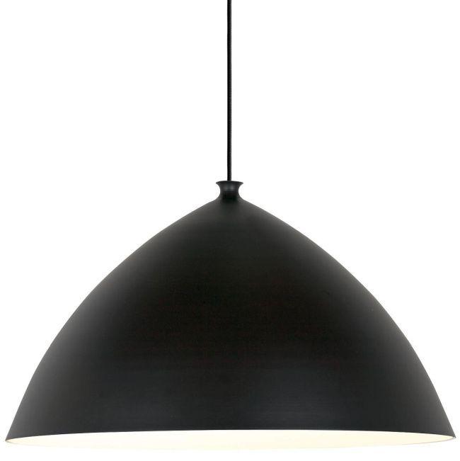 duża lampa wisząca z szerokim kloszem w czarnym kolorze