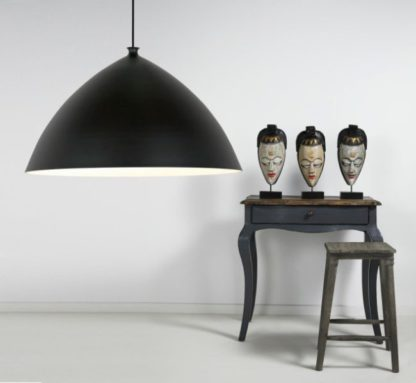 duża lampa wisząca ze stożkowym kloszem, czarna, matowa - aranżacja