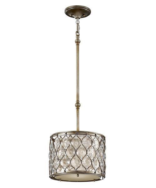 nieduża lampa wisząca, okrągły klosz z kryształami w srebrnej oprawie - aranżacja kuchnia klasyczna