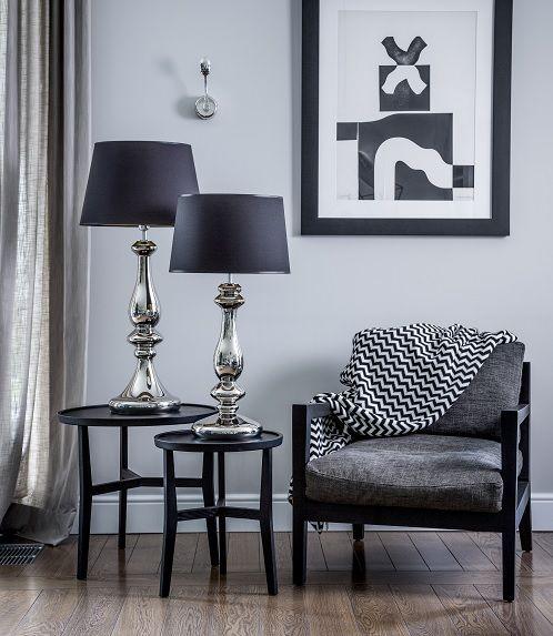 Lampa Stołowa Glamour Louvre Platinum 4concepts Srebrna Podstawa