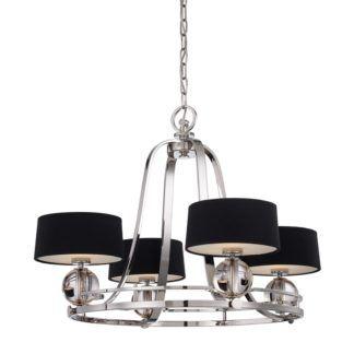 Luksusowy żyrandol - Keira - srebrny, czarne abażury