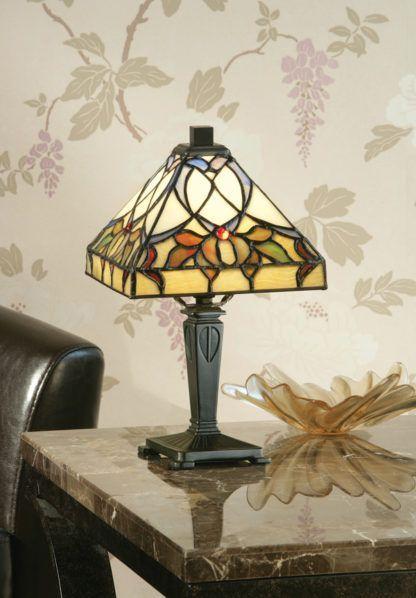 witrażowa lampka stołowa ze szkła Tiffany