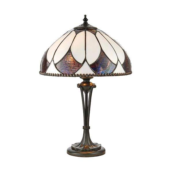 lampa stołowa z brązową metalową podstawą i białym szklanym kloszem