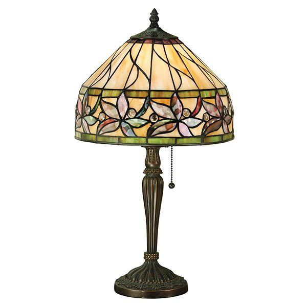 elegancka lampa stołowa z kolorowego szkła na mały stolik