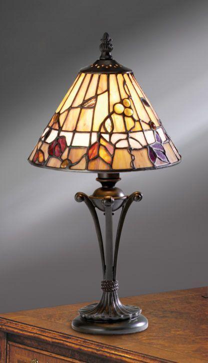 witrażowa lampka na stół do salonu lub sypialni