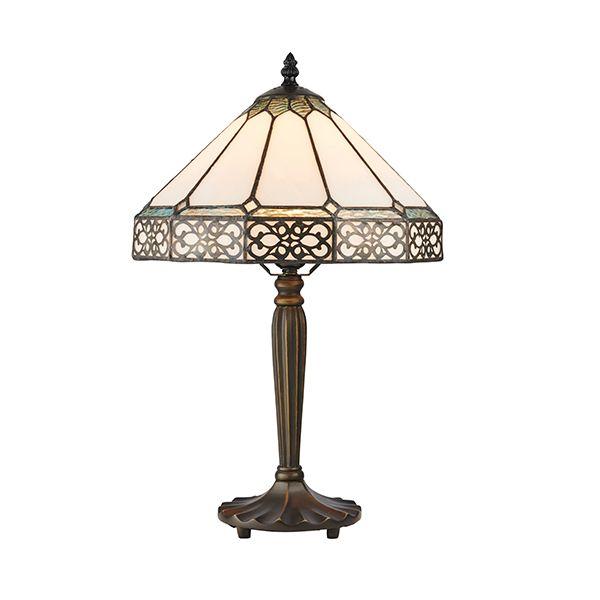 Mała lampa stołowa Boleyn - Interiors - biały klosz