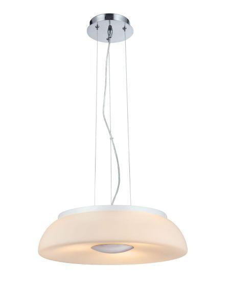 lampa wisząca o srebrnej podstawie zakończonej mlecznym matowym kloszem
