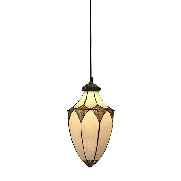 szklana lampa wisząca z bezowym zamkniętym kloszem