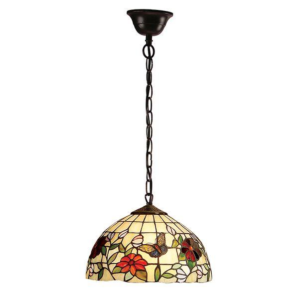 szklana lampa wisząca wykonana ze szkła Tiffany