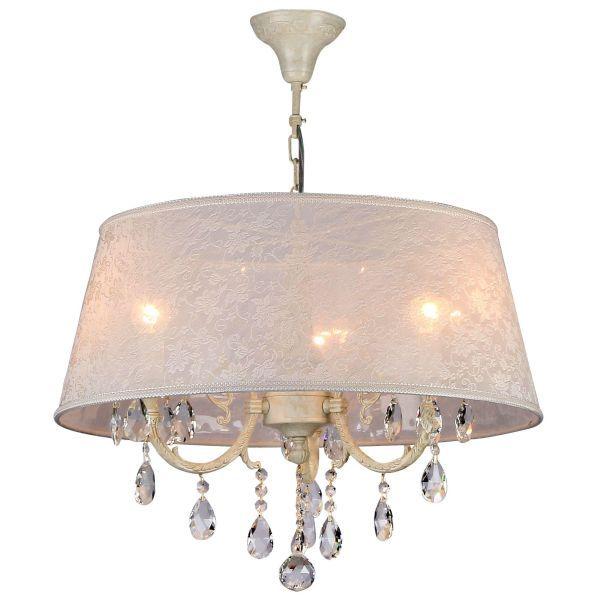 Mała lampa wisząca Filomena - Maytoni - biała, kryształki
