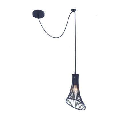 lampa czarna rozszerzana u dołu - wisząca z długim kablem