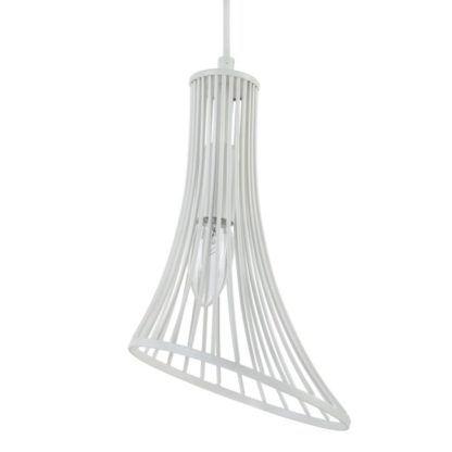 ciekawa lampa druciana biała wisząca z żarówką