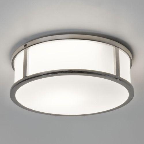 nowoczesny, okrągły plafon ze srebrnymi elementami