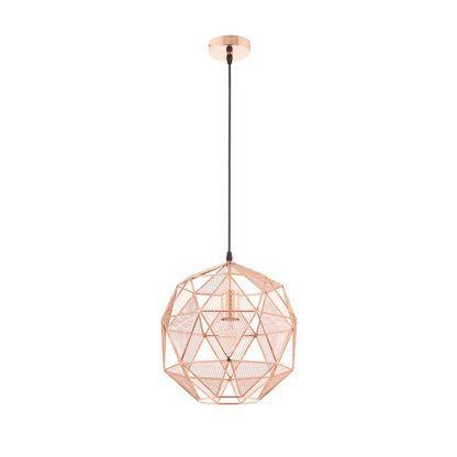 ażurowa lampa wisząca z metalu, miedziana, styl industrialny