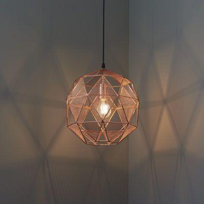 miedziana lampa z metalu, ażurowa, wielościan, styl nowoczesny