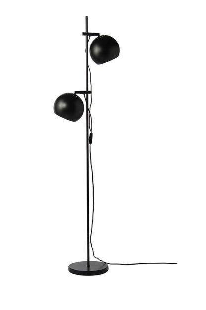 minimalistyczna lampa podłogowa - Ball Double - Frandsen Lighting - czarna - mat