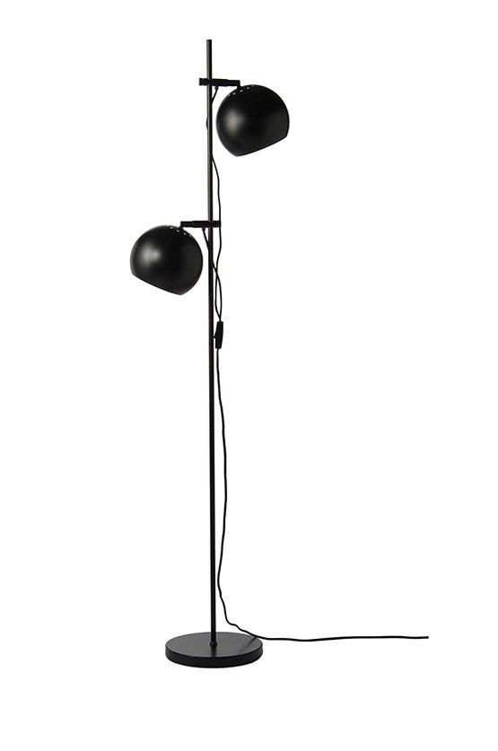 lampa podłogowa, czarna matowa, dwa klosze kule z możliwą regulacją wysokości