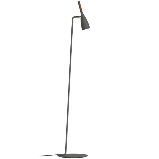 szara, prosta lampa podłogowa, matowa, mały klosz z drewnianymi detalami