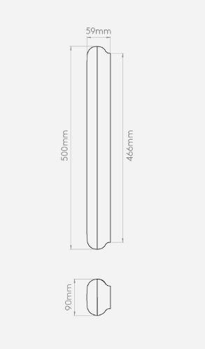 podłużny kinkiet w nowoczesnym stylu, białe szkło