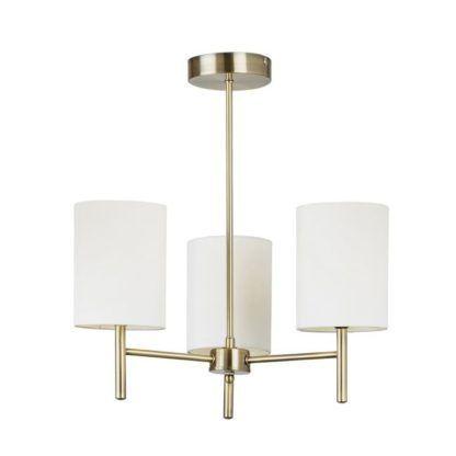 Minimalistyczny żyrandol Brio - Endon Lighting - 3 żarówki - złoty, kremowy