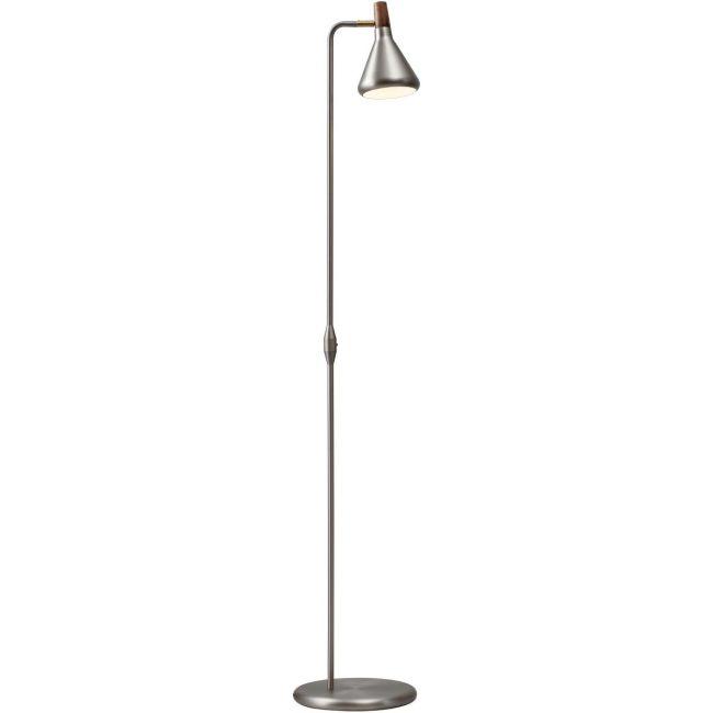 srebrna lampa podłogowa na wysokiej podstawie, mały klosz w stylu industrialnym