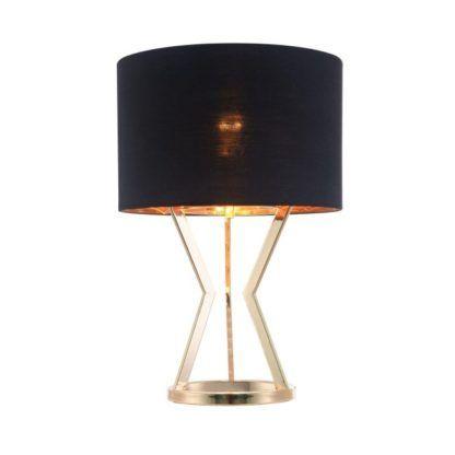 lampa stołowa z czarnym kloszem złota