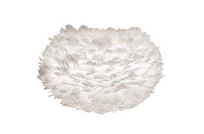 biały klosz z piór, duża kula, styl skandynawski, lampa stołowa