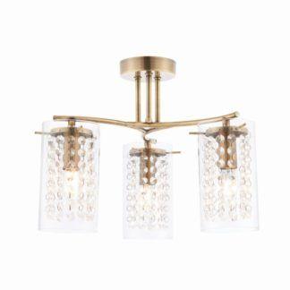 Nowoczesna lampa sufitowa Alda - Endon Lighting - 3 żarówki - złota, szklana