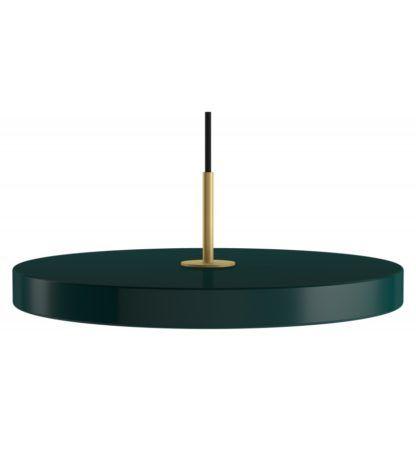 lampa wisząca z okrągłym, płaskim kloszem, ciemna zieleń leśna, lampa do jadalni