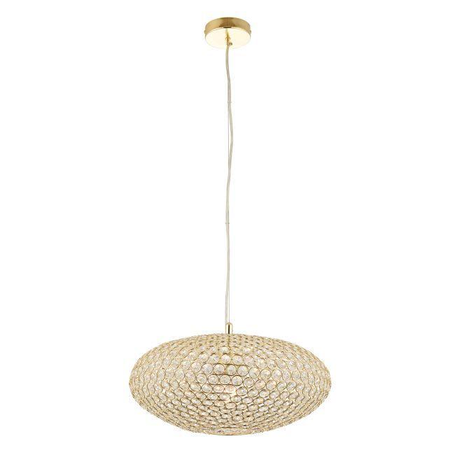 Nowoczesna lampa wisząca - Claudia - złota, szkło