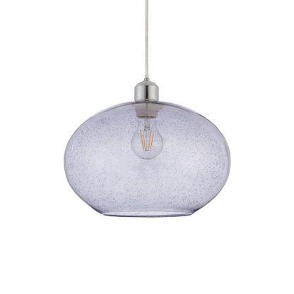 szklana lampa wisząca w stylu industrialnym, szare szkło, kula