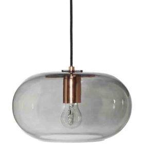 Nowoczesna lampa wisząca Kobe - transparentne szkło, miedź - Frandsen