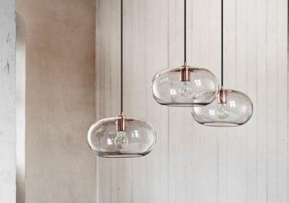 lampa wisząca ze szklanym kloszem, transparentny z miedzianymi elementami