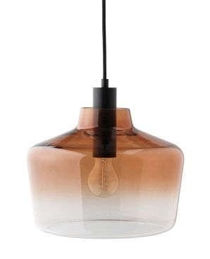 lampa wisząca z barwionego szkła brązowa, transparentna -aranżacja