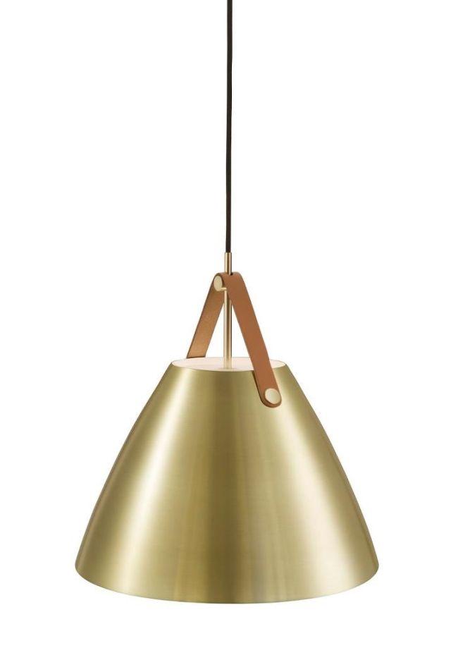 nowoczesna lampa wisząca, klosz złoty na skórzanym pasku