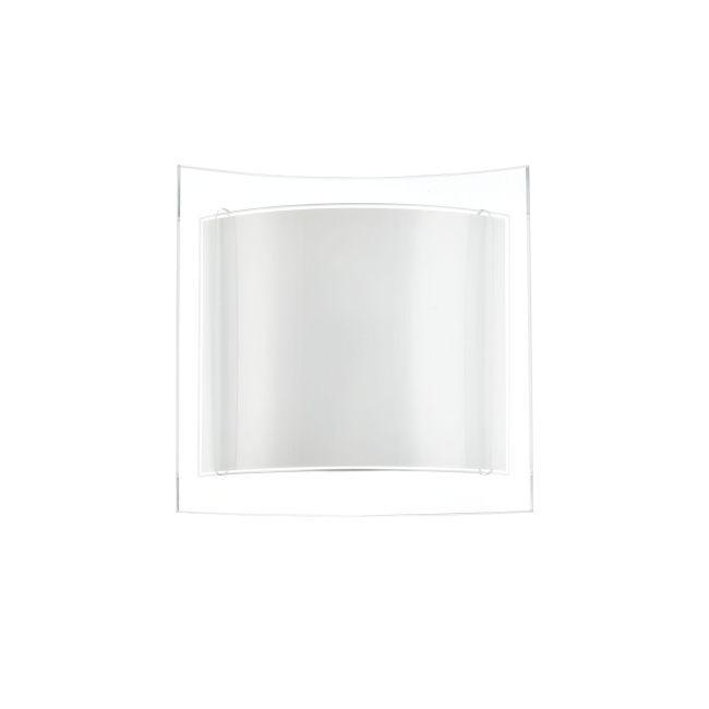 kinkiet szklany z białego szkła półokrągły