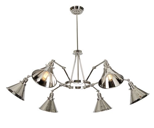 industrialny żyrandol ze srebrnymi, metalowymi kloszami na regulowanych ramionach
