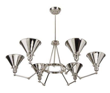 nowoczesny żyrandol ze srebrnymi kloszami w formie kielichów, mobilne ramiona, sześć kloszy