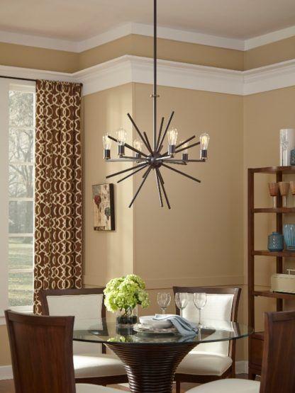 rustykalny żyrandol w stylu sputnik, brązowy - aranżacja salon
