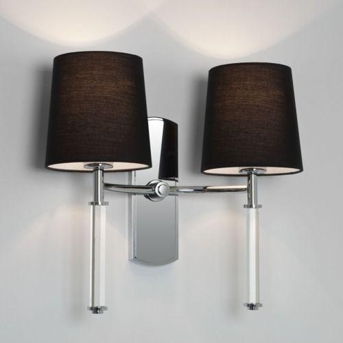 podwójny kinkiet w stylu nowojorskim. srebrna podstawa i ciemne abażury